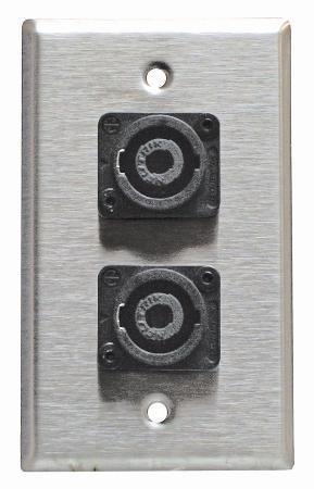 4-gang Wall Plate (Stainless Steel Speakon Wall Plate Neutrik Single Gang 4-Pin-2pack by Horizon Music)