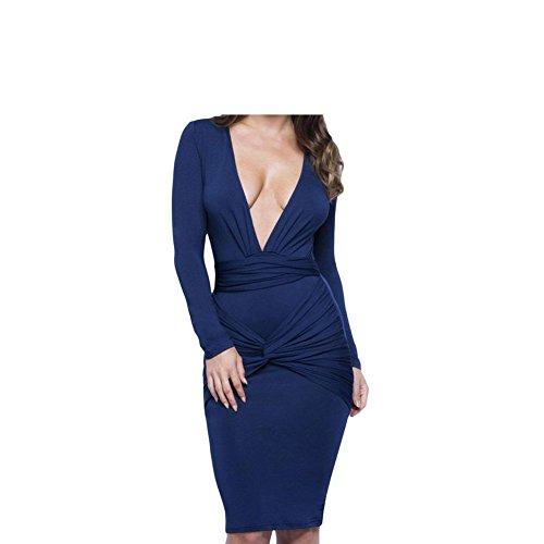 PU&PU Femmes Casual / Party / Cocktail Club Slinky Mini robe nouée, Deep V manches longues Bodycon Black