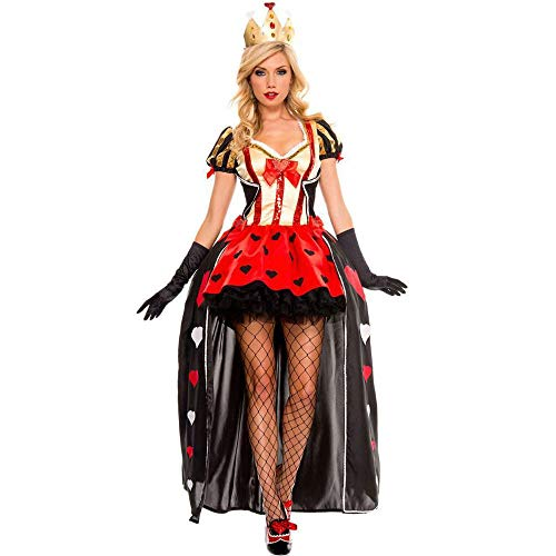 Shisky Cosplay kostüm Damen, Hexenkleid Königin der Herzen Kostüm Halloween Queen Dress Red Queen Outfit (Herzen Der Kostüm Halloween Königin)