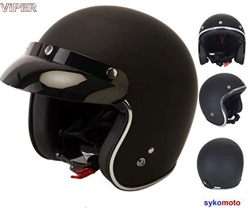 CASCO JET VIPER RS05 APERTO VINTAGE MOTO CUSTOM URBANO CHOPPER BANDIT RETRO OMOLOGATO ECE DONNA UOMO CASCHI NERO OPACO (M (57-58 CM))