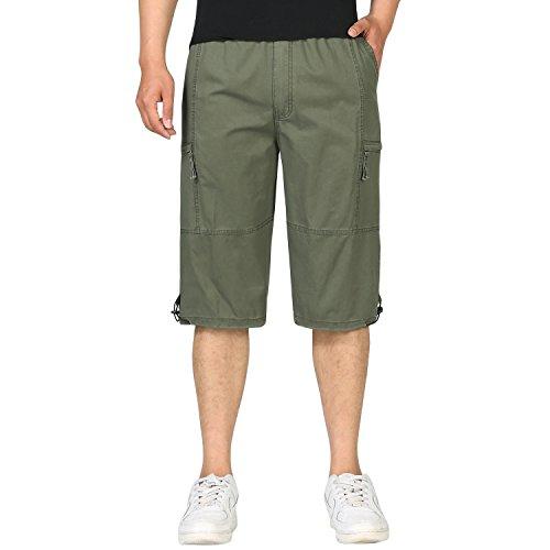 Sidiou Group Casual Cargo Shorts Herren Cargo Shorts Baumwolle Arbeitshose Männer Elastische Taille Cargo-Shorts mit Mehreren Taschen (Armeegrün, XL)