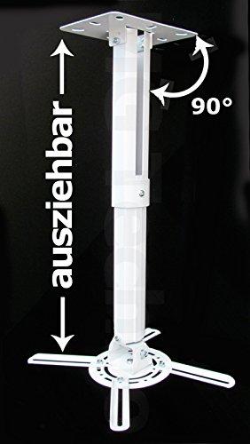 Beamer Projektor Deckenhalterung drehbar 360° ausziehbar bis 55 cm weiß - 2