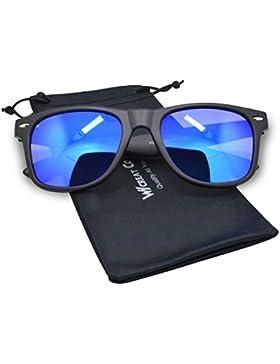 WHCREAT Unisex Polarizado Gafas de sol Bisagra de primavera Marco mate UV 400 Lente de protección (Lente de color...