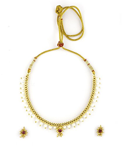 Womens Trendz Traditional Handmade Full Jhaler White Plus Moti Thushi 24K Gold Plated Alloy Necklace and Earring Set for Women and Girls  available at amazon for Rs.530