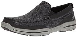 Skechers USA Mens Harper Moven Slip-on Loafer, Black Gray, 7 M US
