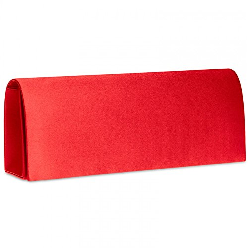 CASPAR TA278 Damen Satin Clutch , Farbe:rot (Rote Satin-abend-tasche)