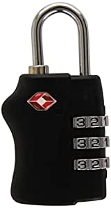 PAVO Cadenas à combinaison TSA 3 chiffres en métal - L1,3 x H4,3 x P3 cm coloris noir