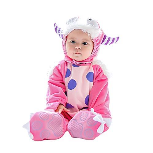 JEELINBORE Unisex Baby Tier Halloween Kostüme Plüsch Spielanzug Strampler Tieroutfit Warm Jumpsuit Winter Nachtwäsche (Rosa Monster, - Monster Baby Kostüm