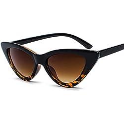 Gafas de sol Aolvo retro con forma de ojo de gato, elegantes gafas de sol triangulares para hombres y mujeres, marco ligero, lentes polarizadas HD (negras), C4, Estándar