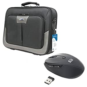 PEDEA Premium Messenger Bag with 2.4GHz Wireless Optical Mouse for 17,3 inch Laptop - Grey