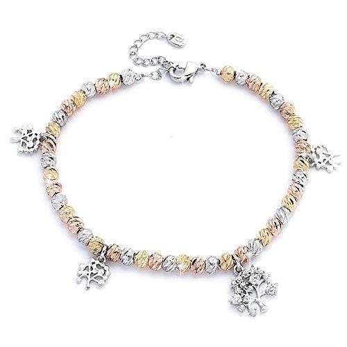 Beloved ❤️ braccialetto donna con cristalli - anallergico - con charms e ciondoli tema albero della vita - bracciale con placcatura in rodio color argento oro rosa e oro giallo - misura regolabile