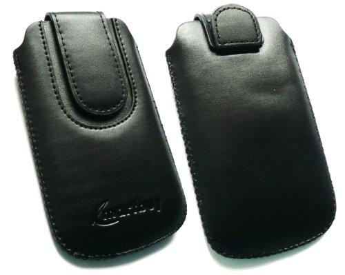 Emartbuy ® Schwarz / Schwarz Premium Pu Leder Tasche Hülle Schutzhülle Case Cover (Größe Medium) mit Ausziehhilfe Geeignet Für Huawei G6151