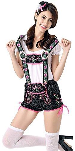 Damen Sexy Lederhosen Shorts Deutsches Oktoberfest Bier Mädchen Fest Kostüm Kleid Outfit UK 8-10-12