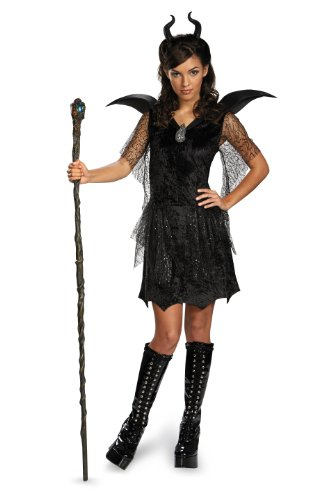 Disguise Disney Maleficent Movie Black Gown Tween Deluxe Costume, X-Large/14-16