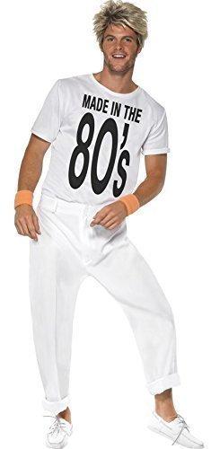 Herren weiß 1980's 80's George Michael Wham Popstar Jahrzehnte Party Kostüm Kleid Outfit - Weiß, Large (Kleid Hose George)