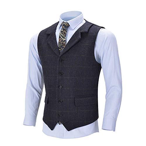 Männer Karierte Weste Wolle Tweed Anzug Weste Formale Kerbe Revers Weste Groomsmen für Hochzeit(XL,Navy blau) -