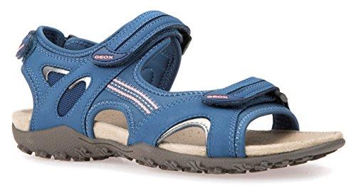 Geox D1125C Donna Sportliche Damen Sandale, Trekking Sandale, Outdoorsandale, Funktionssandale mit 3 Klettverschlüssen für den Sommer Blau (Denim), EU 35 (Denim-sandalen Sportliche)