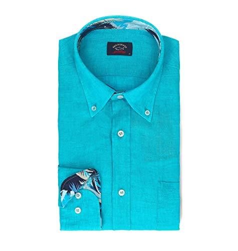 Paul & shark camicia uomo p19p3198014 lino azzurro