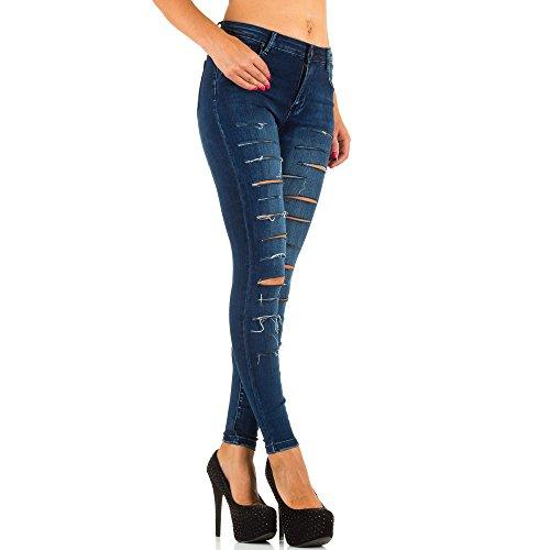 Damen Jeans, HIGH WAIST DESTROYED SKINNY JEANS, KL-J-2D49 Blau