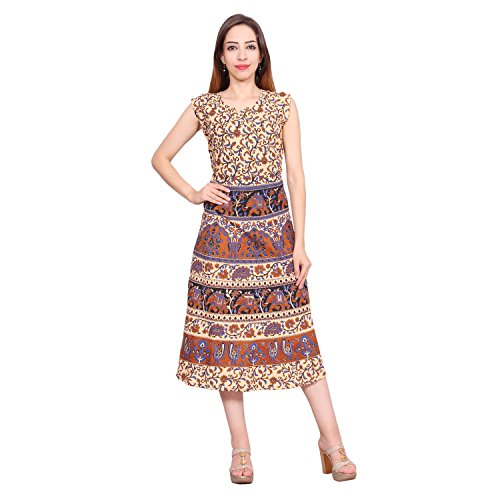 Amber Pure Cotton Designer Women Midi Dress Free Size ...