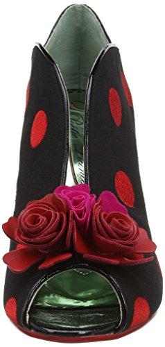 Poetic Licence by Irregular Choice Rekindled Flame, Peep-Toe femme Multicolour (Black/Red)
