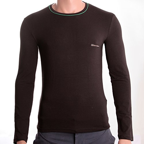 Emporio Armani Crew Neck Shirt Longsleeve GIROCOLLO M/L STRETCH COTTON DARK BROWN Braun