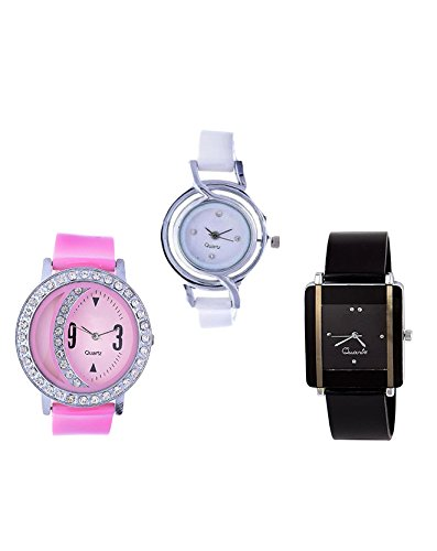 Woman Watch(Madhav Fashion Attractive Multi Color Analog Watch - For Pack of 3)