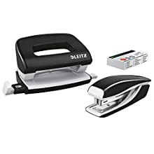 Leitz 55612095 Mini Stapler and Hole Punch Set, Staple or Punch Up to 10 Sheets, Includes P2 N°10 Staples, WOW Range, Black