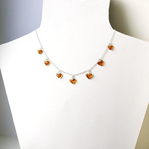 (Sterling Silber 925 18 Zoll 46cm Halskette mit Bernstein Herzen)