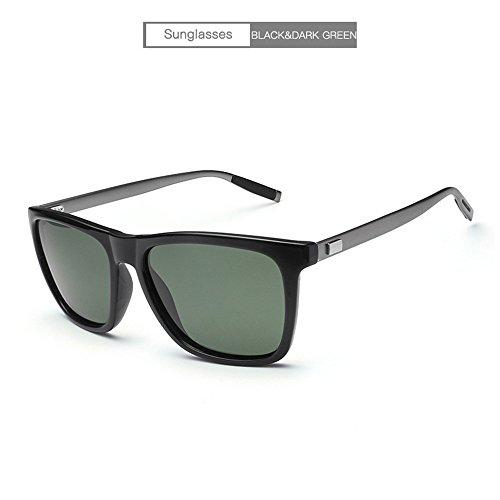 RFVBNM Aluminium-Magnesium-Sonnenbrille Männer Brille Fahrerbrille Outdoor-Anti-UV-Mode Persönlichkeit Rahmen Sonnenbrille, schwarz Rahmen dunkelgrüne Linse