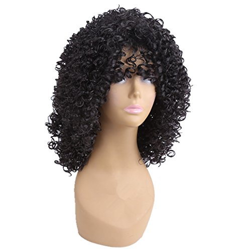 longlove lang lockiges Afro-Kunsthaar Perücken für Frauen Perücke (Jumbo Perücke Afro)