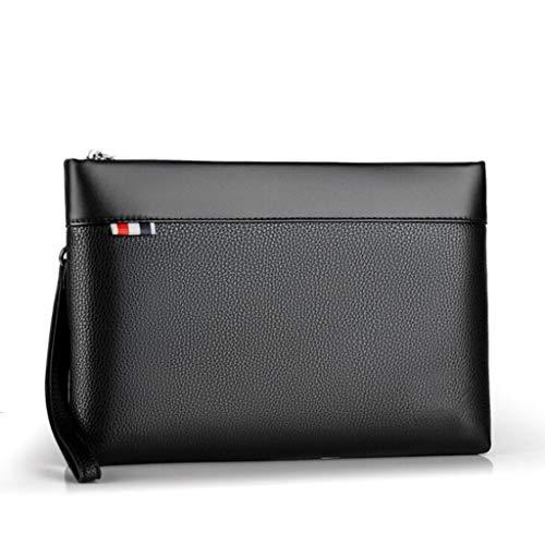 Bolso de mano de cuero para hombres Bolso grande de mano Bolso de almacenamiento de bolsos para el bolsillo de la moda casual Bolso para el cheque del teléfono móvil - Ipadmini - Bolso para teléfono m