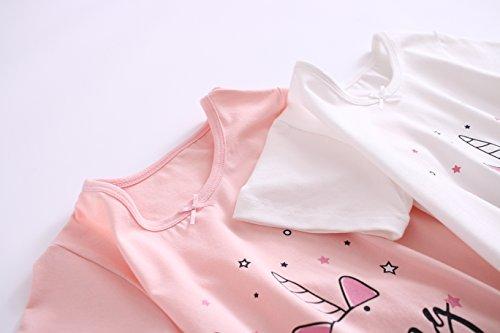 AOSKERA Camicia da Notte Unicorno per Ragazze Abito da Notte a Sirena Cotone 3-12 Anni