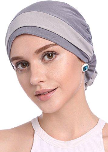 YI HENG MEI Frauen Elegante Strench Blüte Block Farbe Muslim Turban Chemo Krebs Cap,Grau