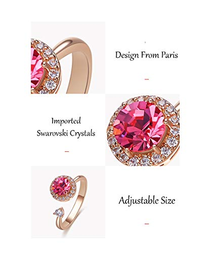 She Said Yes Crystals from Swarovski 18k Rose Gold Plated Dancing Stone Design from Paris Cute & Adjustable Free Size Ring Jewellery for Women and Girls