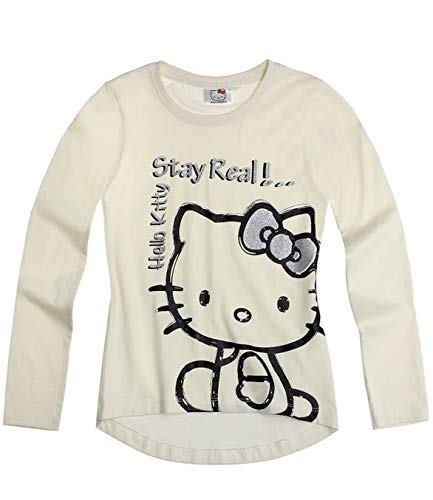 Hello Kitty Langarmshirt Sweatshirt für Mädchen in 4 Größen und 3 Motive wählbar, Farbe:creme;Größe:128 (Für Hello Kitty Mädchen Sweatshirt)