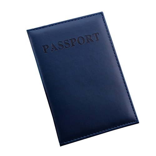 Fundas de pasaporte,AZX,Protector de Cartera tarjeta de identificación,ID con cuero del PU (Azul oscuro)