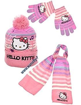 Sciarpa, Berretto e guanti bambino ragazza hello kitty a righe rosa di 3a 9anni