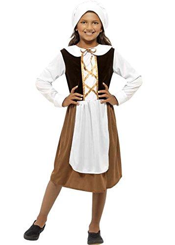 Kinder Größe braun Tudor Girl Kostüm Medium (7-9 years)