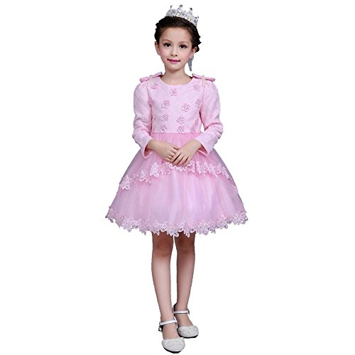Blumenmädchen Kleidet Kinder Tulle Lange Hülsen Hochzeits Geburtstagsfeier Kinder Prinzessin . Pink . (Belly Halloween Kostüm Dancer Blue)