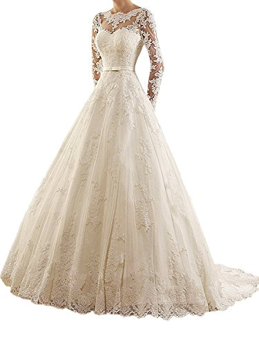 Brautkleider Damen Lang Spitzekleider für Braut A-Linie Hochzeitskleid Langarm mit Schleppe Weiß...