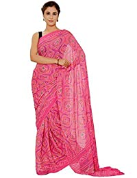 Aaradhya Fashion Women Crepe Saree with Blouse Piece (AFMOSS 0131 _Pink)