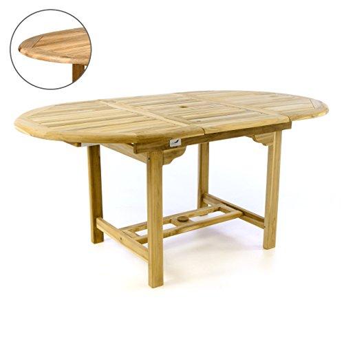 Divero Gartentisch Esstisch Balkontisch Tisch für Terrasse Balkon Wintergarten 120/170 cm Teak-Holz...