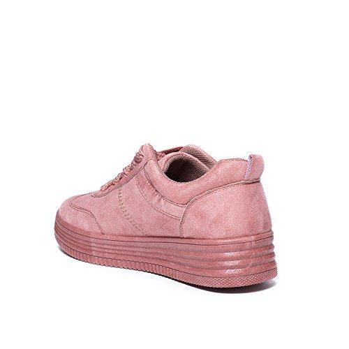 Ideal Shoes - Baskets basses effet daim Emelina Rose
