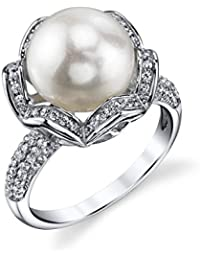 11mm White Freshwater Cultured Pearl & Crystal Charriot Ring