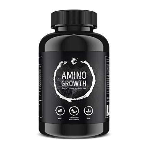 AMINO GROWTH 150-450 Tabletten (Vegan)   Hochdosiert mit 5000 mg/Portion   Aminosäuren Komplex mit Maca & Vitamin B6   zum Muskelaufbau, Straffung, Diät & Leistungssteigerung (150 Tabletten) -