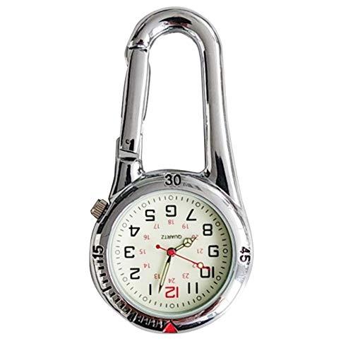 jiyoujianzhuangshigongchengyouxiangongsi Mini-Zifferblatt arabische Ziffern Quarz Analoge Clip Karabiner Uhr, weiß
