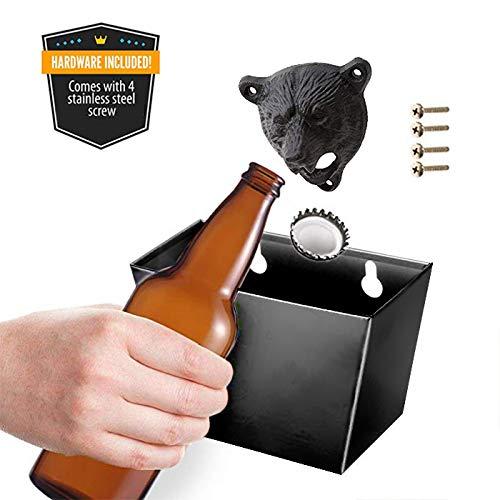 Gentoo Wand-Flaschenöffner Kronkorkenauffangbehälter für Wandmontage Bieröffner Wand Bottle Opener Bar Küchen Deko, mit Auffangbehälter für Kronkorken und Deckel (Schwarz) -
