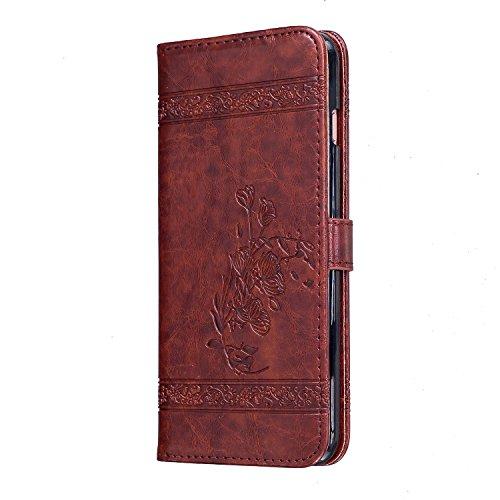 Portefeuille Folio Coque de Protection pour iPhone 7 / 8,SKYXD Etui Multifonctions Housse en Cuir Housse Format (Wallet Case) avec Support Intégré pour Apple iPhone 7 / iPhone 8,Rouge Rouge