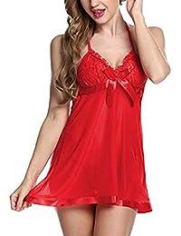 Lola Dola LDLDoll004 Red Women Baby Doll Sleepwear Lingerie Nightwear (Babydoll G - String Panty) (Free Size)